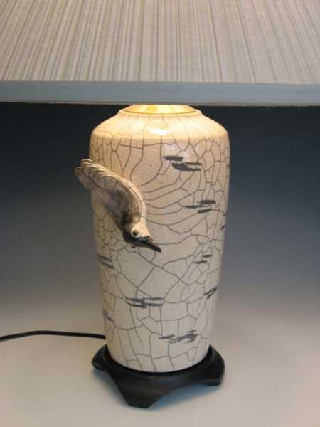 One of a kind Raku nuthatch lamp