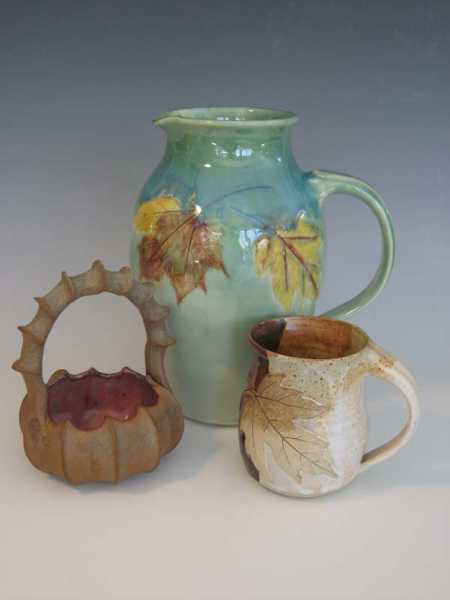 Functional Porcelain leaf pitcher, Stoneware mug and basket
