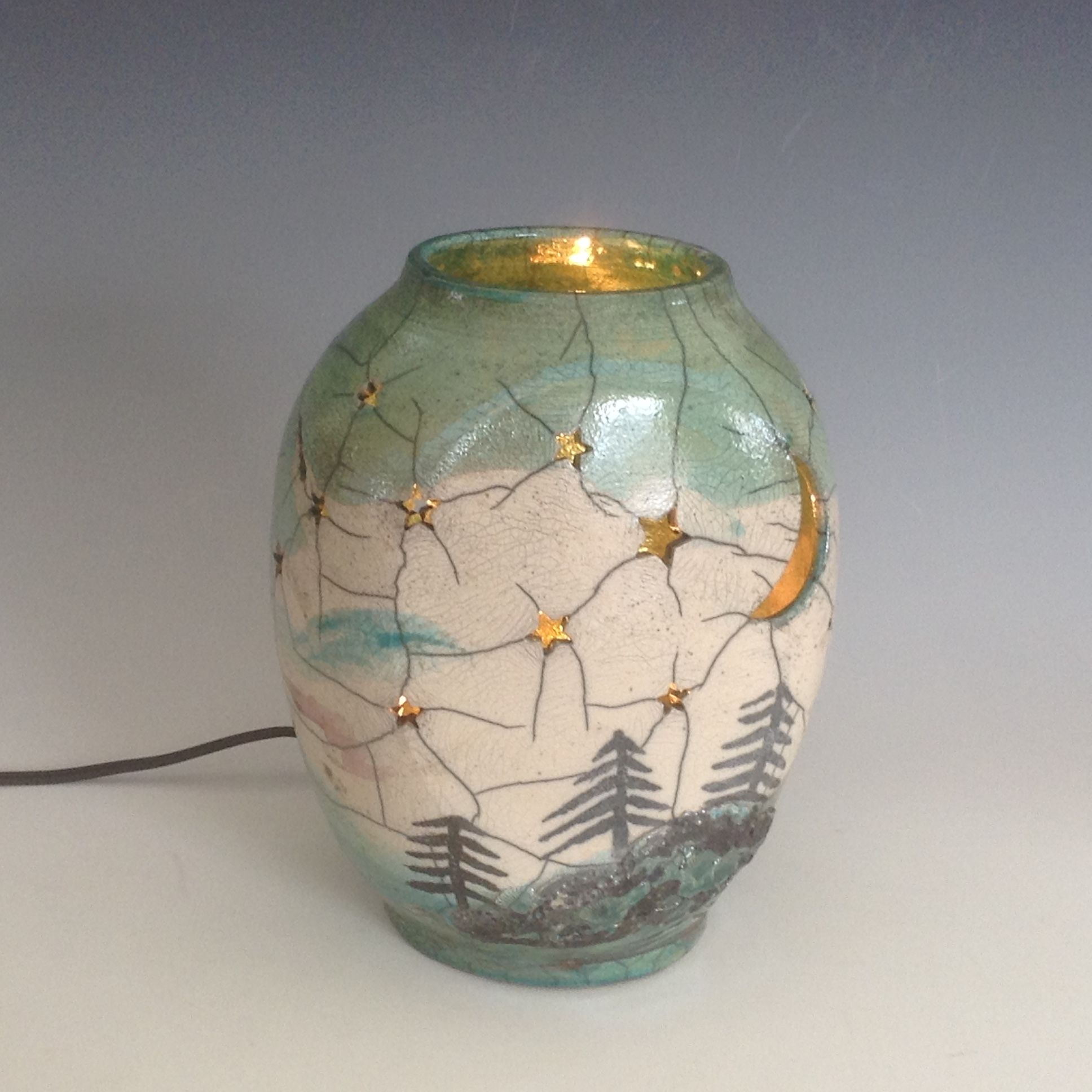Jamie Oates raku nightlight
