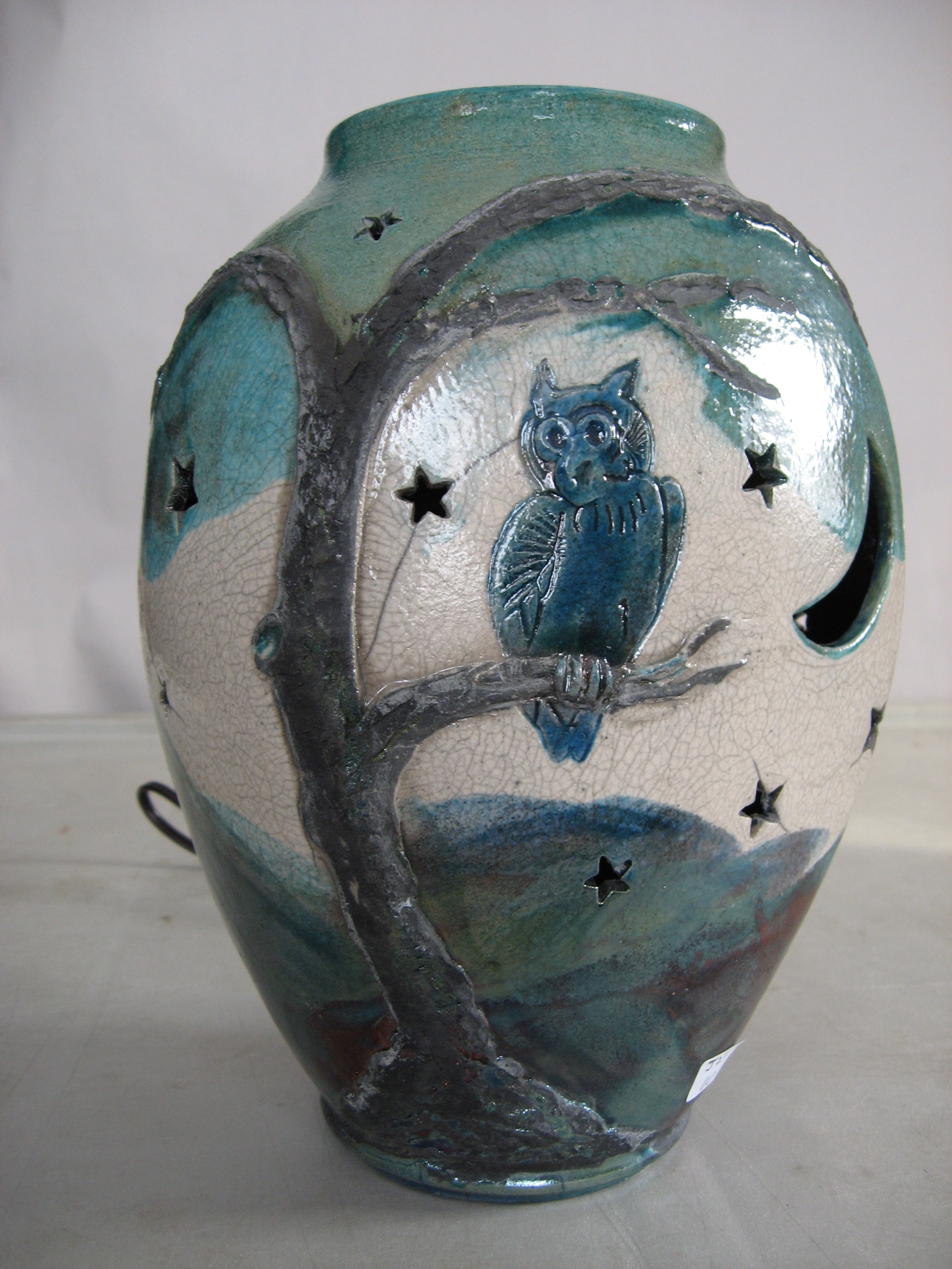 raku fired nightlight with owl in tree