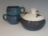 Maine clay, oven safe microwave safe casserole chowder mug,lCasserole and cups by Rackcliffe Pottery